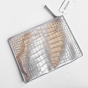Banana Republic Metallic Vegan Leather Zip Pouch
